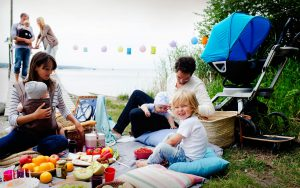 Family meal at lake