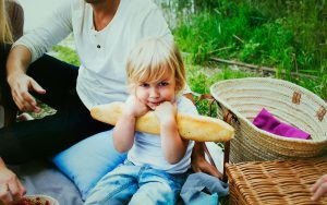 Child with baguette