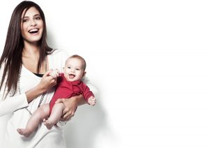 mother with laughing baby