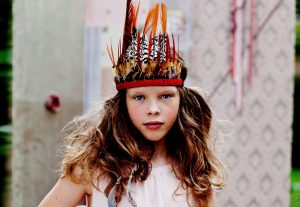 girl dressed like amerindian
