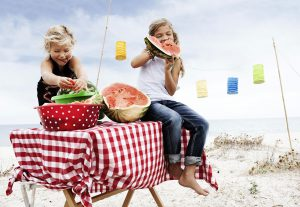 kids eating water melon